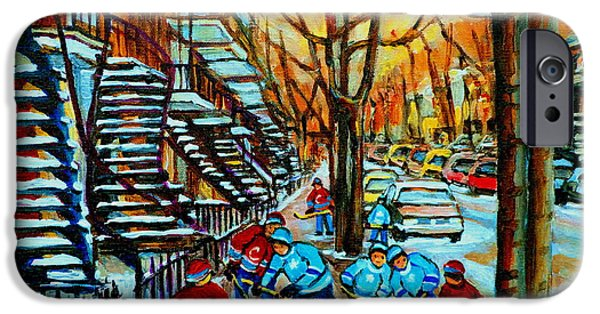 Canada Sports Paintings iPhone Cases - Montreal Hockey Paintings iPhone Case by Carole Spandau