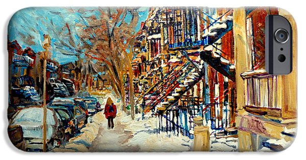 Montreal Storefronts Paintings iPhone Cases - Montreal Street In Winter iPhone Case by Carole Spandau
