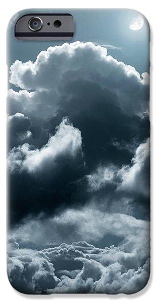 Moonlit Night Photographs iPhone Cases - Moonlit Clouds iPhone Case by Detlev Van Ravenswaay