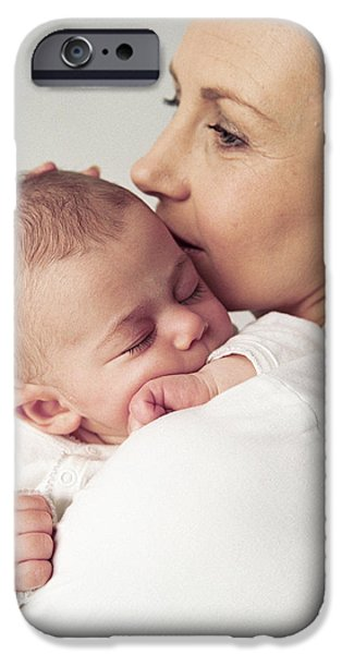 Cradling iPhone Cases - Mother And Baby Girl iPhone Case by Ian Boddy