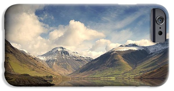 Frigid iPhone Cases - Mountains And Lake At Lake District iPhone Case by John Short