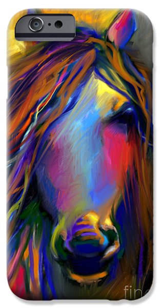 Mustang Horse iPhone Cases - Mustang horse painting iPhone Case by Svetlana Novikova