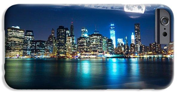 Sea Moon Full Moon iPhone Cases - New York Skyline iPhone Case by Mircea Costina Photography