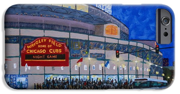Wrigley Field iPhone Cases - Night Game iPhone Case by J Loren Reedy