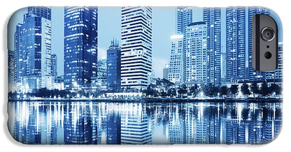 Reflections Photographs iPhone Cases - Night Scenes Of City iPhone Case by Setsiri Silapasuwanchai