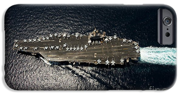 Freedom iPhone Cases - Nimitz Class Aircraft Carrier Uss iPhone Case by Stocktrek Images