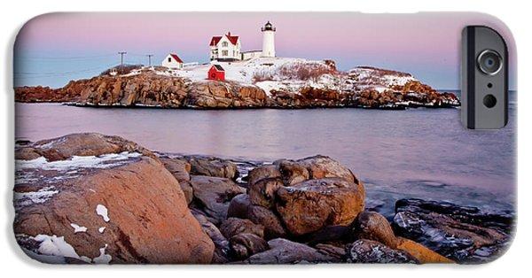 Nubble Lighthouse iPhone Cases - Nubble Winter Dusk iPhone Case by Susan Cole Kelly