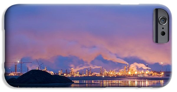 Tailings iPhone Cases - Oil Refinery At Night iPhone Case by David Nunuk