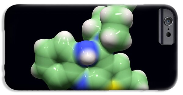 Disorder iPhone Cases - Olanzapine Antipsychotic Drug Molecule iPhone Case by Dr Tim Evans