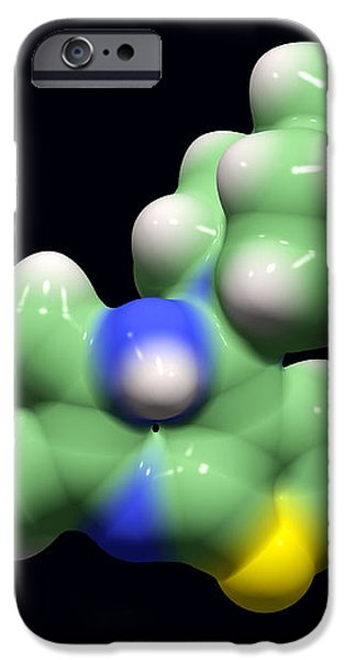 Olanzapine Antipsychotic Drug Molecule iPhone Case by Dr Tim Evans