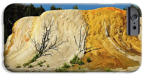 Mammoth Terrace iPhone Cases - Orange Mound iPhone Case by Greg Norrell