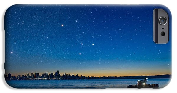 Burrard Inlet iPhone Cases - Orion Over Vancouver, Canada iPhone Case by David Nunuk