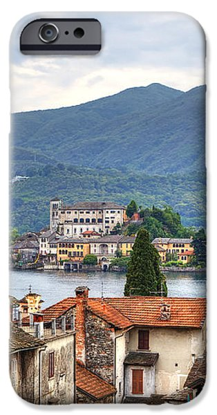 Orta - overlooking the island of San Giulio iPhone Case by Joana Kruse