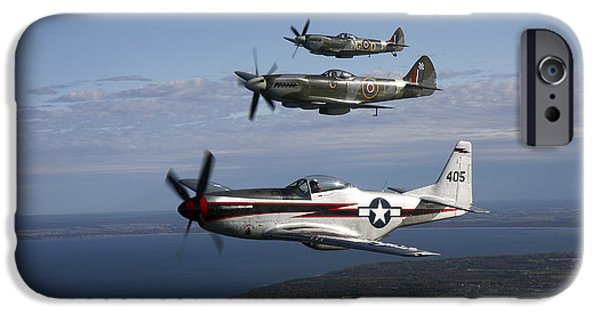 North American Aviation iPhone Cases - P-51 Cavalier Mustang With Supermarine iPhone Case by Daniel Karlsson