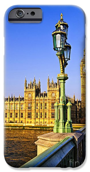 Streetlight Photographs iPhone Cases - Palace of Westminster from bridge iPhone Case by Elena Elisseeva