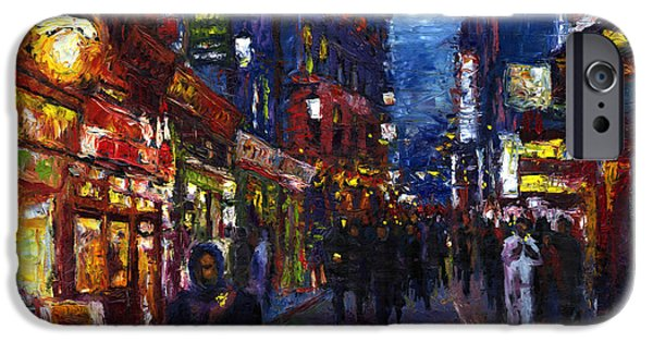 Oil Paintings iPhone Cases - Paris Quartier Latin 01 iPhone Case by Yuriy  Shevchuk