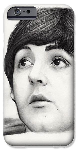 Mccartney Drawings iPhone Cases - Paul McCartney iPhone Case by Rosalinda Markle