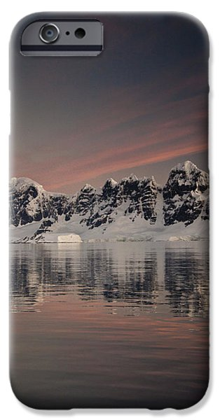 Mountain iPhone Cases - Peaks At Sunset Wiencke Island iPhone Case by Colin Monteath