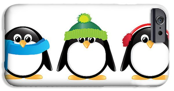Holiday Digital Art iPhone Cases - Penguins isolated iPhone Case by Jane Rix