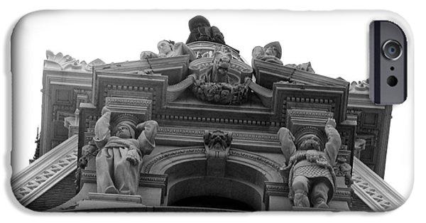 Philadelphia City Hall iPhone Cases - Philadelphia City Hall Looking Up iPhone Case by Bill Cannon