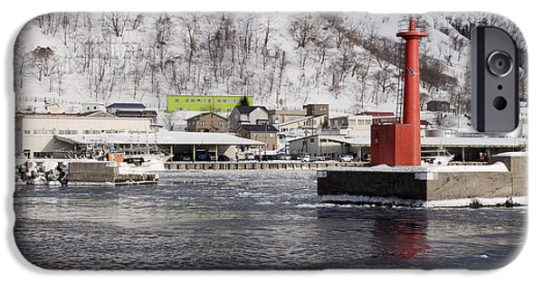 Freeze Warning iPhone Cases - Pier Light at Fishing Port Harbor iPhone Case by Jeremy Woodhouse