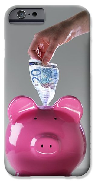 Piggy Bank With Euros iPhone Case by Tek Image