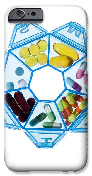 Cut-outs iPhone Cases - Pill Box iPhone Case by Cristina Pedrazzini