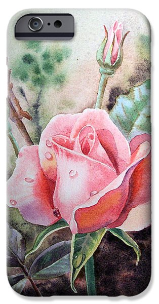 Printmaking Paintings iPhone Cases - Pink Rose with Dew Drops iPhone Case by Irina Sztukowski