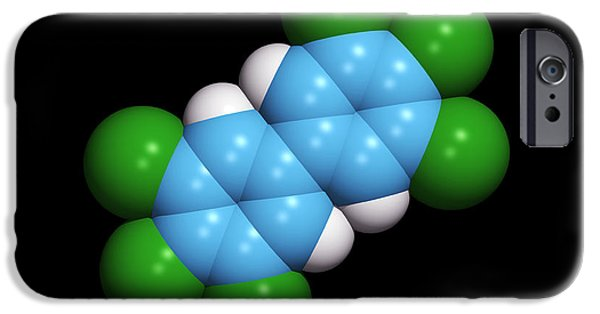 Pollutant iPhone Cases - Polychlorinated Biphenyl Molecule iPhone Case by Dr Tim Evans