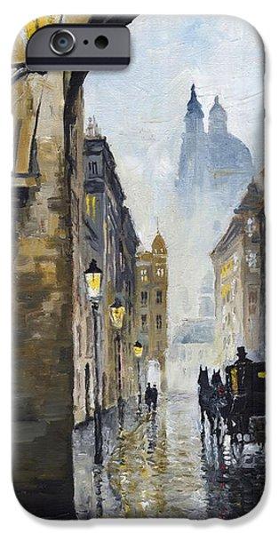 Prague Paintings iPhone Cases - Prague Old Street 01 iPhone Case by Yuriy  Shevchuk