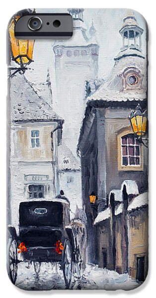 Snow iPhone Cases - Prague Old Street 02 iPhone Case by Yuriy  Shevchuk