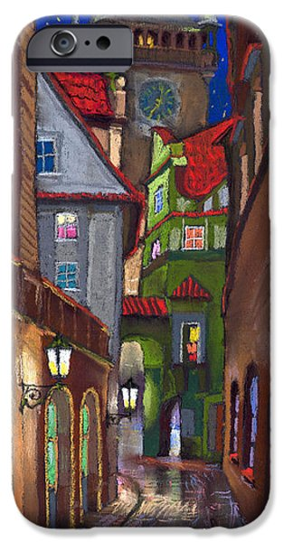 Old Drawings iPhone Cases - Prague Old Street  iPhone Case by Yuriy  Shevchuk