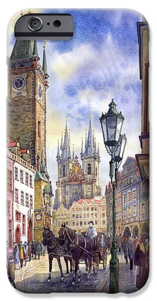 Papers iPhone Cases - Prague Old Town Square 01 iPhone Case by Yuriy  Shevchuk