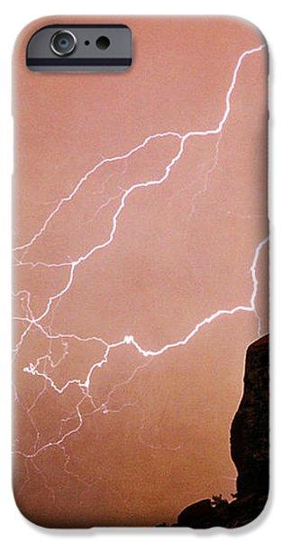 Praying Monk Camelback Mountain Lightning Monsoon Storm Image TX iPhone Case by James BO  Insogna