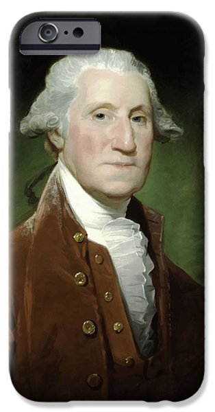 Warishellstore Paintings iPhone Cases - President George Washington  iPhone Case by War Is Hell Store