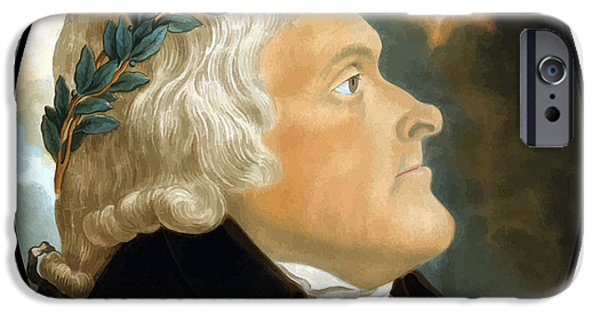 Declaration Of Independence Digital Art iPhone Cases - President Thomas Jefferson iPhone Case by War Is Hell Store