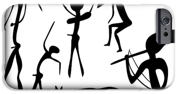 Macro Drawings iPhone Cases - Primitive Art - Various Figures iPhone Case by Michal Boubin