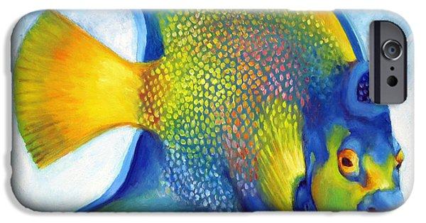 Islamorada iPhone Cases - Queen Angelfish iPhone Case by Nancy Tilles