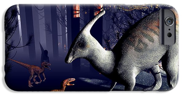Palaeontology iPhone Cases - Raptor Dinosaurs Attacking iPhone Case by Christian Darkin