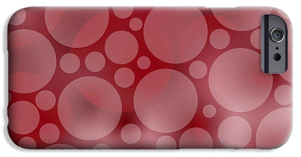 Psychology iPhone Cases - Red Abstract Circles iPhone Case by Frank Tschakert