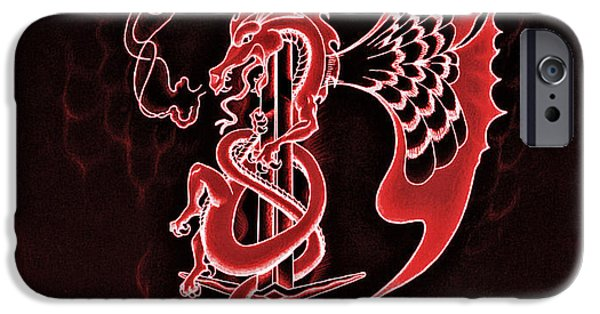 Serpent Mixed Media iPhone Cases - Red Dragon Sword II iPhone Case by Robert Ball