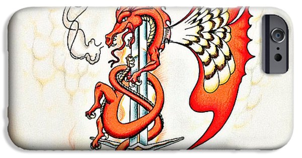 Serpent Mixed Media iPhone Cases - Red Dragon Sword iPhone Case by Robert Ball