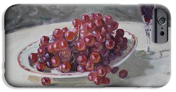 Glass Of Wine iPhone Cases - Red Grapes iPhone Case by Ylli Haruni