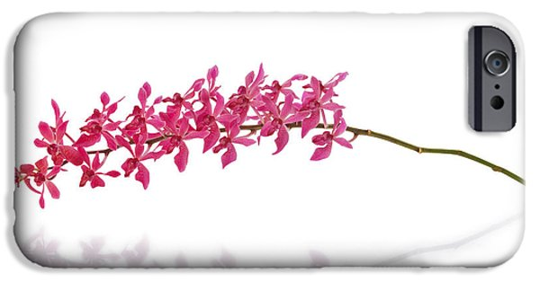 Cut-outs iPhone Cases - Red Orchid iPhone Case by Atiketta Sangasaeng
