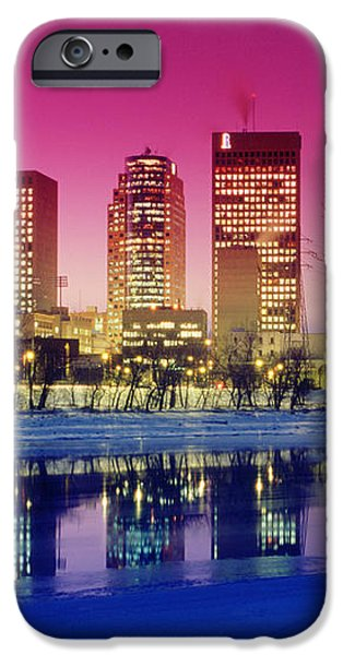 Red River And Downtown Winnipeg iPhone Case by Dave Reede