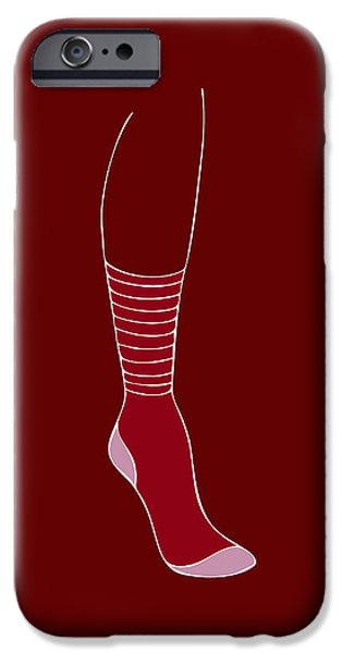 Underwear iPhone Cases - Red Sock iPhone Case by Frank Tschakert