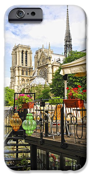 Notre Dame Cathedral iPhone Cases - Restaurant on Seine iPhone Case by Elena Elisseeva
