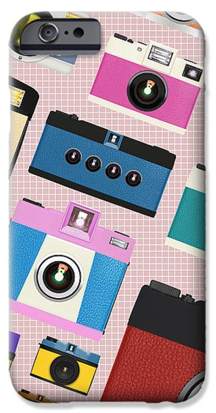 retro camera pattern iPhone Case by Setsiri Silapasuwanchai