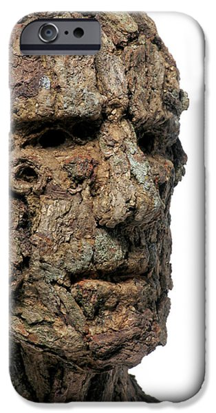 Person Mixed Media iPhone Cases - Revered A natural portrait bust sculpture by Adam Long iPhone Case by Adam Long