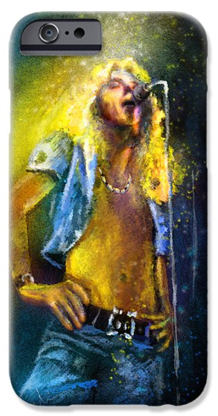 Robert Plant Paintings iPhone Cases - Robert Plant 01 iPhone Case by Miki De Goodaboom